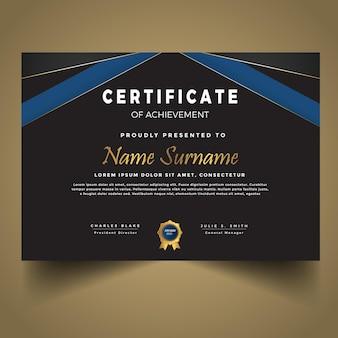 Modello di diploma blu moderno premium