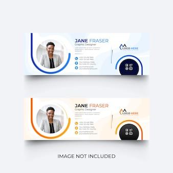 Modello di firma e-mail blu moderno o piè di pagina e-mail set di modelli