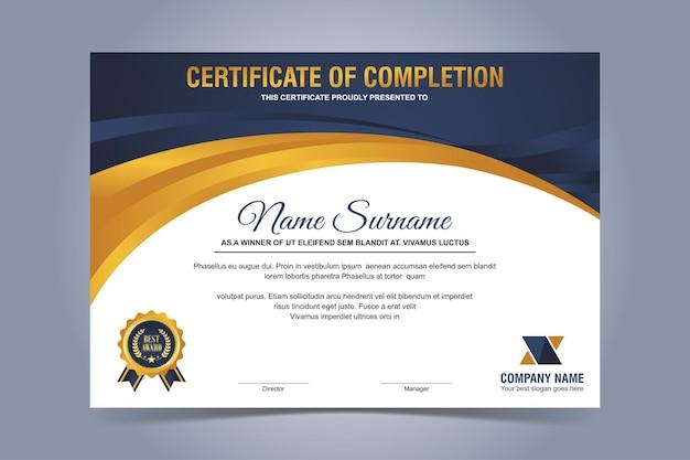 Modello di certificato moderno blu e oro