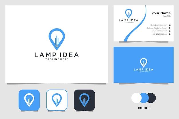 Moderna lampada blu idea logo design e biglietto da visita