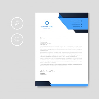 Carta intestata blu moderna
