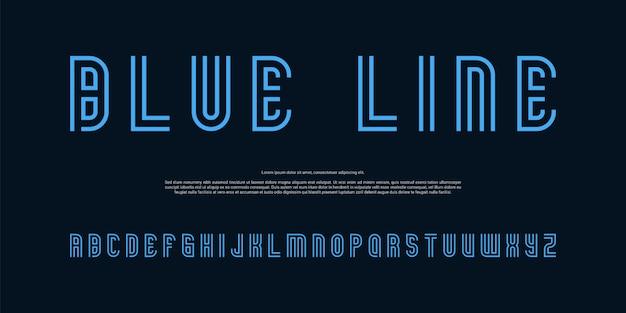 Carattere alfabeto moderno linee blu