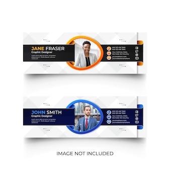 Modello moderno di firma e-mail blu e arancione o set di modelli di copertina social media piè di pagina e-mail