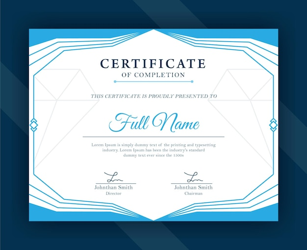 Modello di certificato di riconoscimento blu moderno