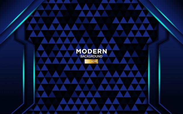 Fondo moderno di vettore di forma blu moderna con le linee leggere blu nella struttura del triangolo.