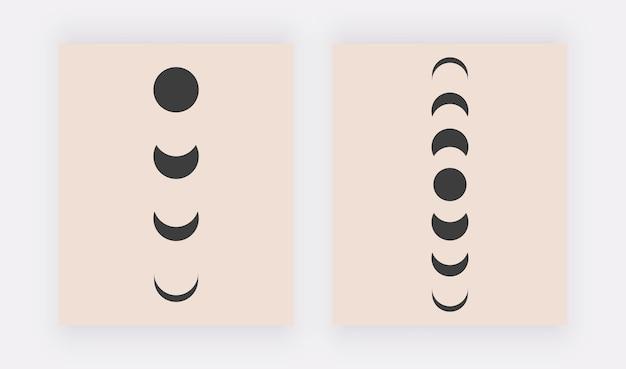 Stampe d'arte moderna da parete boho con luna nera