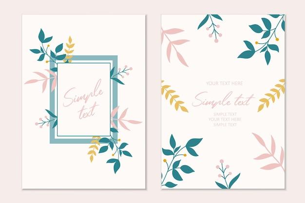 Modello di carta di invito botanico moderno con fiori e foglie. carte con spazio per il testo.