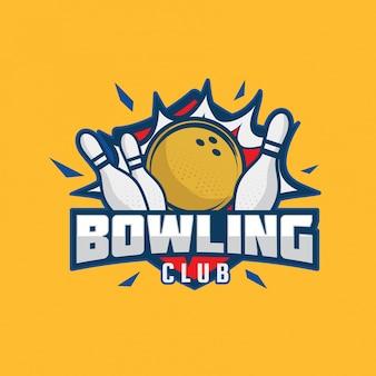 Illustrazione moderna di logo del distintivo di bowling