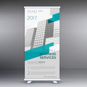 Raggruppa il modello di design standee banner in colore grigio e blu
