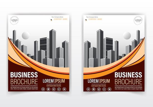 Opuscolo moderno e cover design di colore arancione