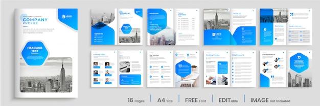 Progettazione moderna del modello dell'opuscolo con le forme blu di pendenza, progettazione dell'opuscolo di affari di multi pagine