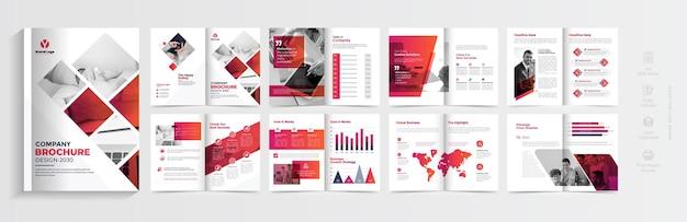 Design moderno del modello di brochure con forme sfumate rosse design di brochure aziendali a più pagine