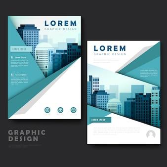 Design moderno modello di brochure con paesaggio urbano