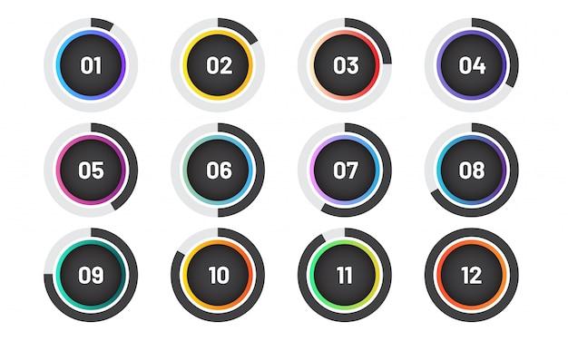 Punti elenco moderni impostati con grafico a torta. indicatori di cerchio alla moda con numero.