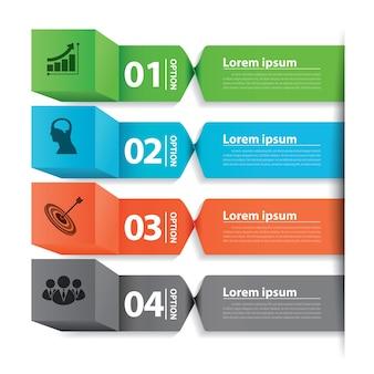 Insegna moderna della bandiera di affari infographic