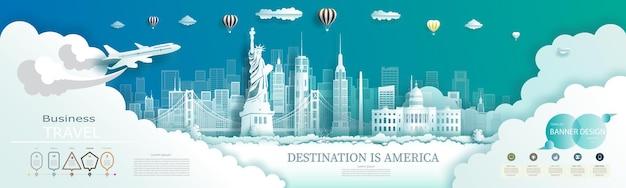 Design moderno di brochure aziendali per la pubblicità dei punti di riferimento dell'america con infografica