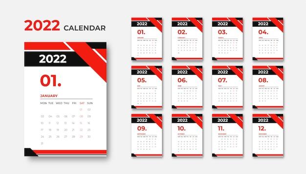 Design moderno del calendario aziendale 2022