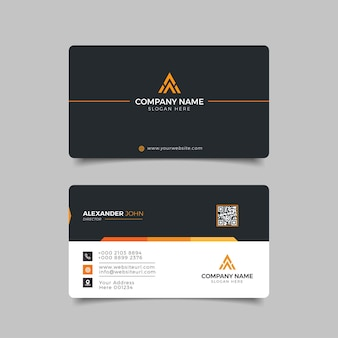 Biglietto da visita moderno nero e arancione elegante professionale