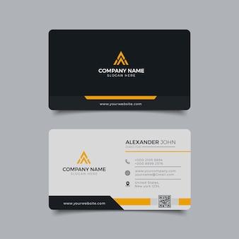 Biglietto da visita moderno nero e giallo corporate professional