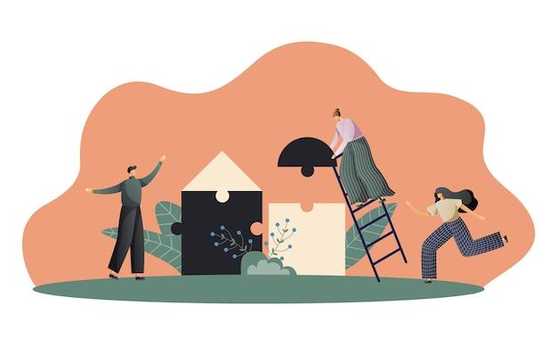 Moderno concetto di business con pezzi di un puzzle