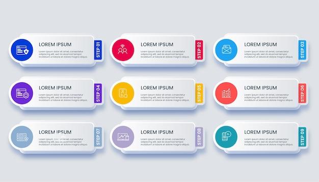 Infografica moderna di affari con 9 opzioni di illustrazione