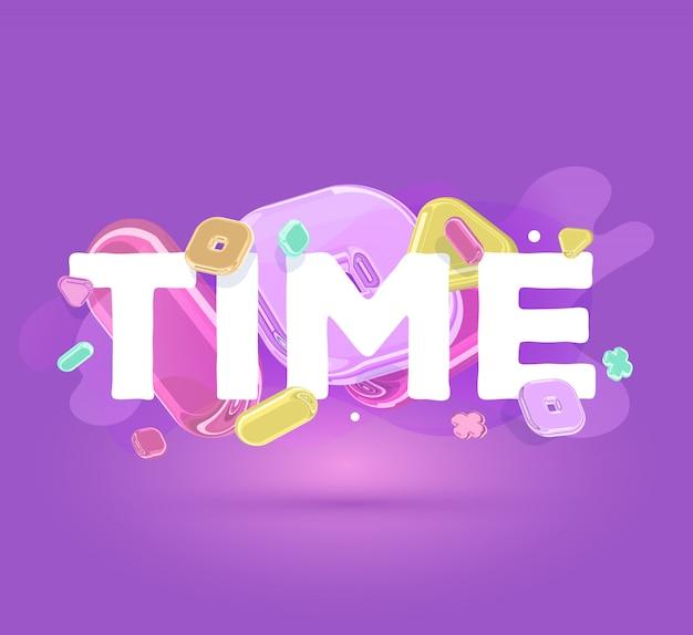 Tempo di iscrizione moderna di affari con elementi di cristallo luminosi su sfondo viola con ombra.