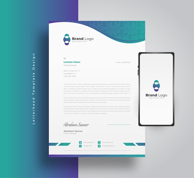 Design moderno modello di carta intestata aziendale in sfumatura blu e verde con motivo floreale e smartphone sul lato
