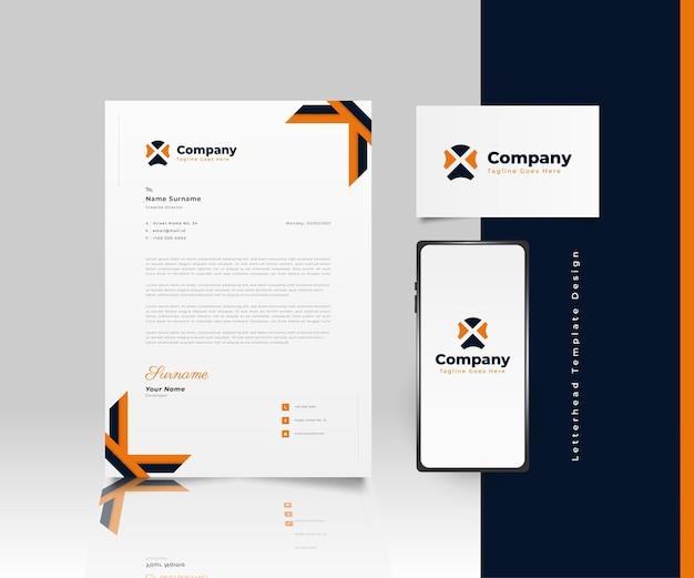 Design moderno modello di carta intestata aziendale in blu e arancione con logo, biglietto da visita e smartphone Vettore Premium