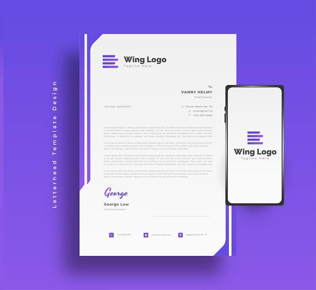 Design moderno modello di carta intestata aziendale in gradiente viola e concetto futuristico con lo smartphone sul lato