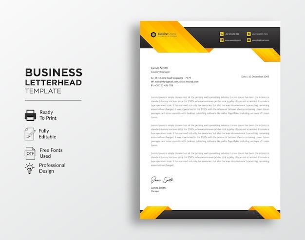 Modello di carta intestata aziendale moderna