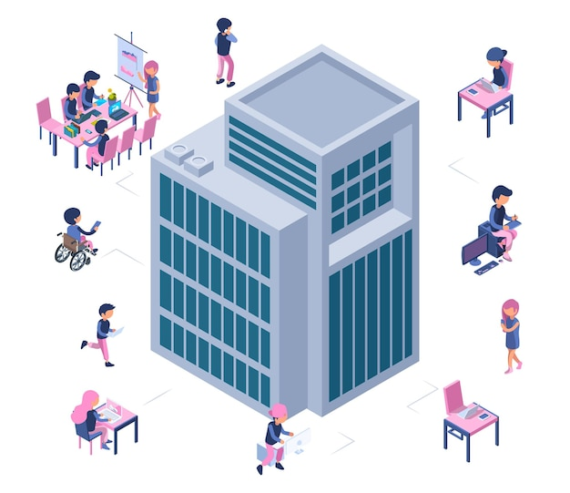 Ufficio moderno di affari. edificio isometrico e uomini d'affari.