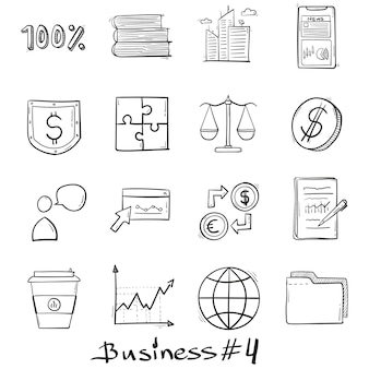 Icone stabilite di affari moderni disegnate a mano nello stile di scarabocchio isolato.