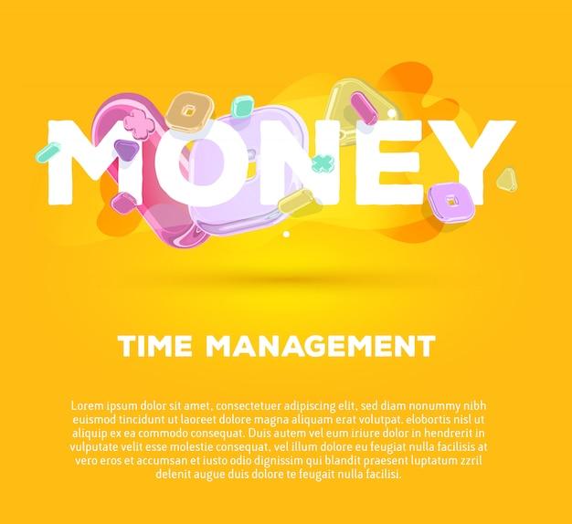 Modello di business moderno con elementi di cristallo luminosi e denaro parola su sfondo giallo con ombra, titolo e testo.