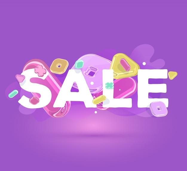 Modello moderno di affari con elementi di cristallo luminosi e vendita di parola su sfondo viola con ombra.