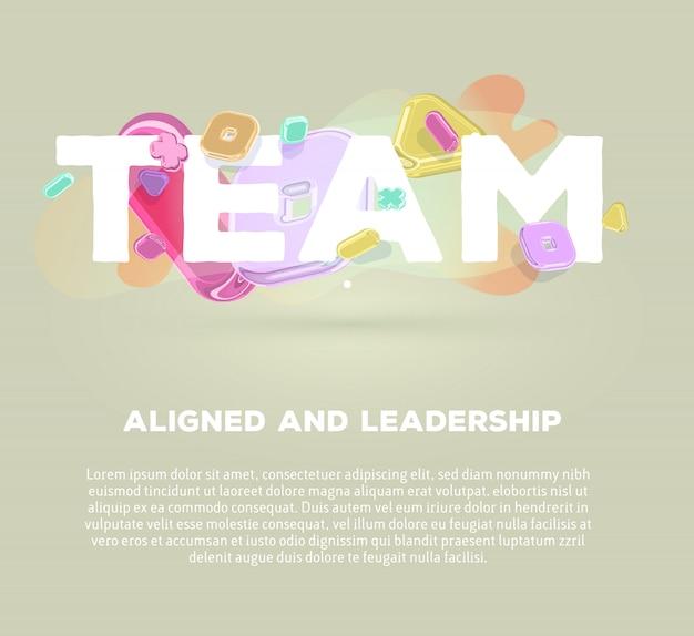 Modello di business moderno con elementi di cristallo luminosi e parola team su sfondo grigio con ombra, titolo e testo.