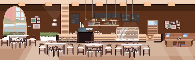 Il caffè moderno non svuota la sala del ristorante della gente con l'insegna orizzontale piana interna della caffetteria della tavola e delle sedie