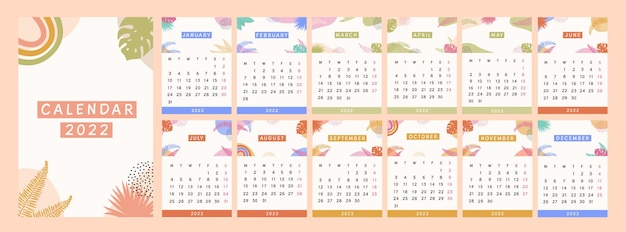 Calendario moderno anno 2022. pianificatore astratto tropicale con piante esotiche disegnate a mano colorate luminose in stile bohémien. elementi foglia astratti minimalisti per pagine di diario. illustrazione piana di vettore.