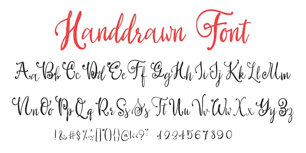 Calligrafia moderna vintage carattere vettoriale scritto a mano per lettering. script di calligrafia retrò alla moda.