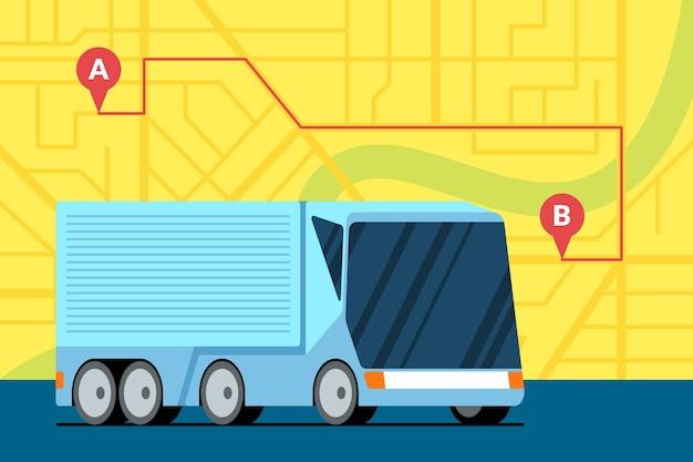 Logistica moderna del rimorchio del camion del carico sulla mappa della città con il perno di posizione del navigatore geotag gps del percorso da a a b