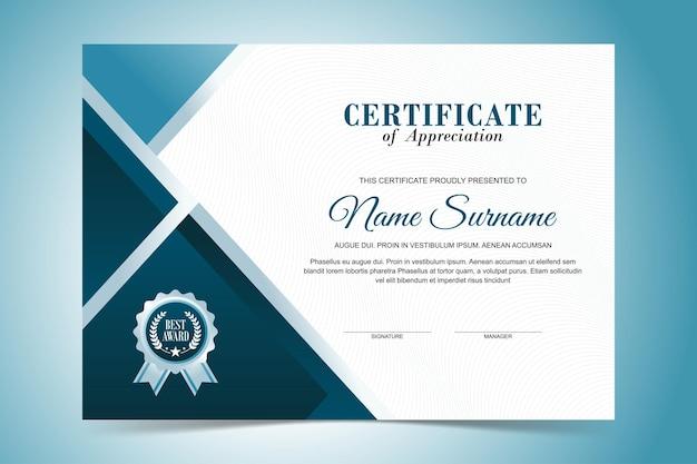 Modello moderno di certificato di apprezzamento, design di colore blu turchese