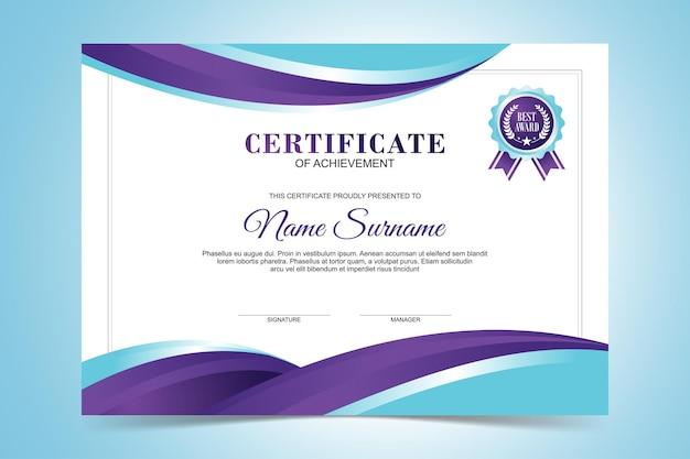 Modello di certificato moderno, design piatto di colore viola e turchese