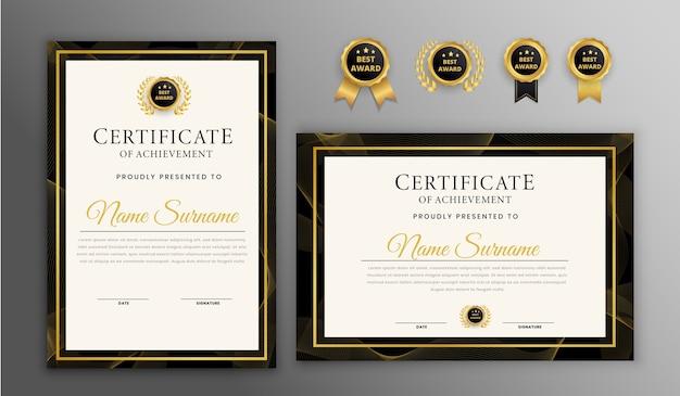 Certificato moderno con set di badge