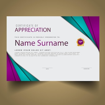 Certificato moderno con nuovo modello
