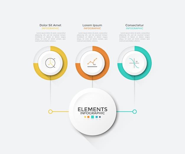 Grafico moderno con 3 elementi rotondi di carta bianca collegati al cerchio principale. modello di progettazione infografica pulito. illustrazione vettoriale per schema aziendale, visualizzazione delle caratteristiche del progetto di avvio.