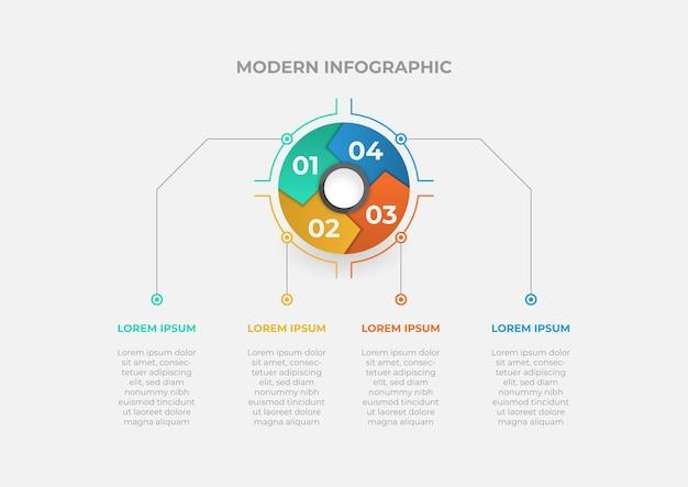 Modello di infografica con grafico circolare moderno con quattro passaggi