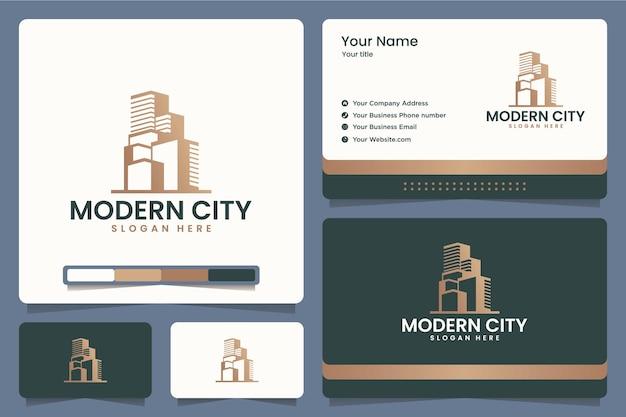 Città moderna, edificio, ufficio, appartamento, design del logo e biglietti da visita