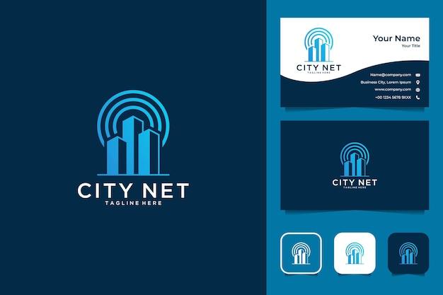 Design del logo della rete della città moderna e biglietto da visita