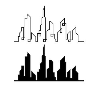 Orizzonte moderno della città. sagoma della città. illustrazione vettoriale in design piatto