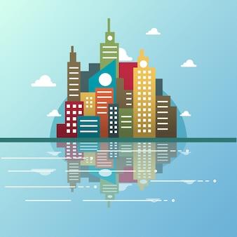 Illustrazione di skyline città moderna