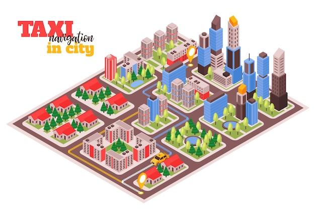 Servizio di taxi moderno della città per l'illustrazione isometrica dei viaggiatori